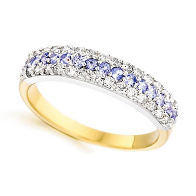 tanzanite and diamond ring in yellow gold