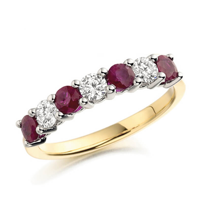 Gemstone and diamond ring in yellow gold
