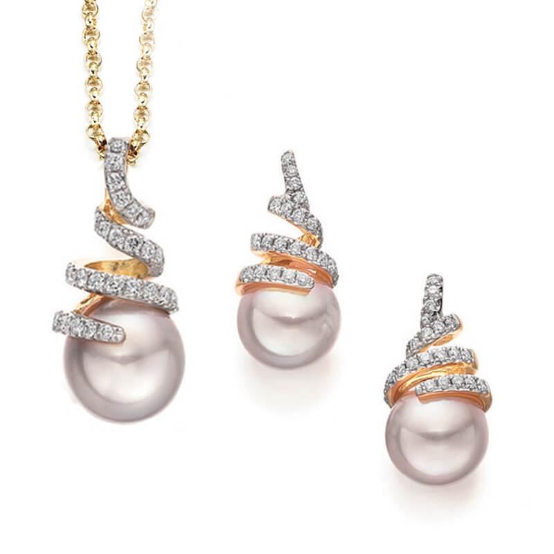 Pearl & diamond engagement ring
