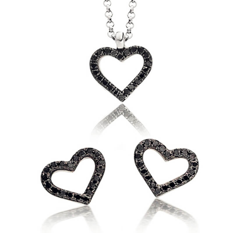 Black and White Diamond Earring and Pendant