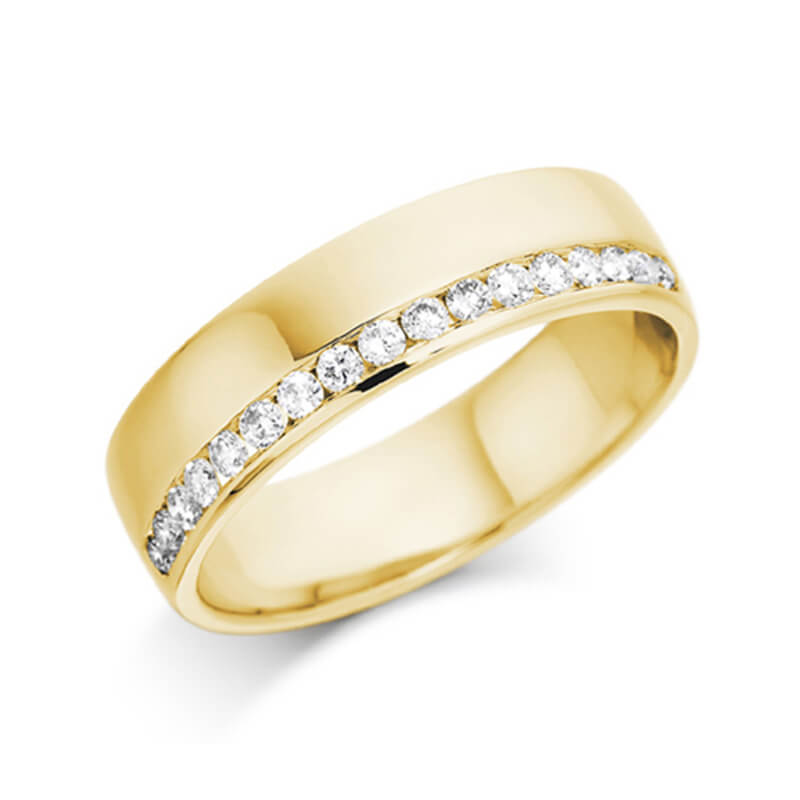Diamond Wedding Band and Eternity Ring in Yellow Gold