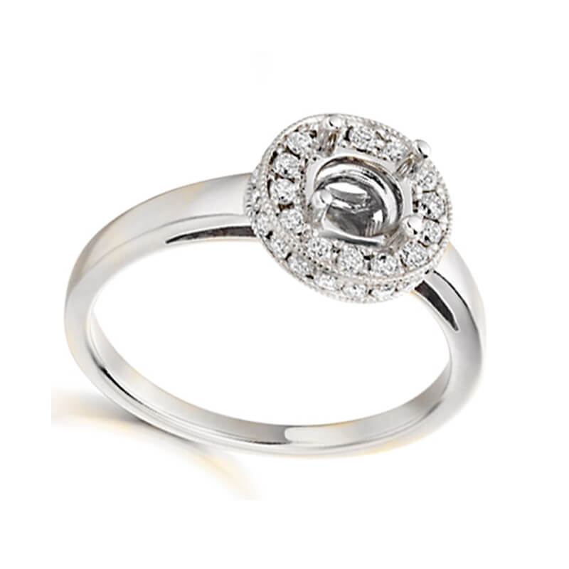 Cluster engagement ring mount in white gold