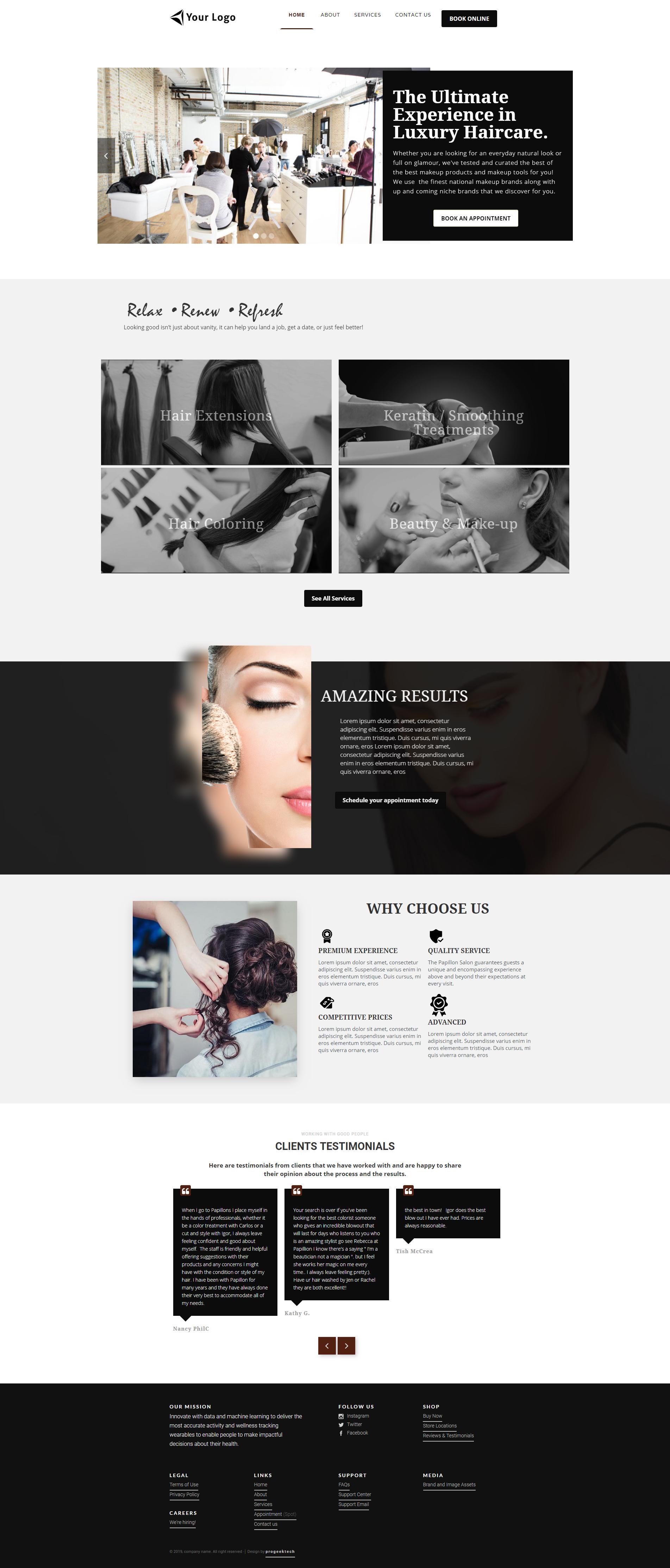 Salon Website Theme