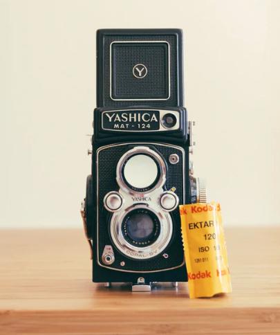A roll of Ektar 210 film with a medium format yashica camera body