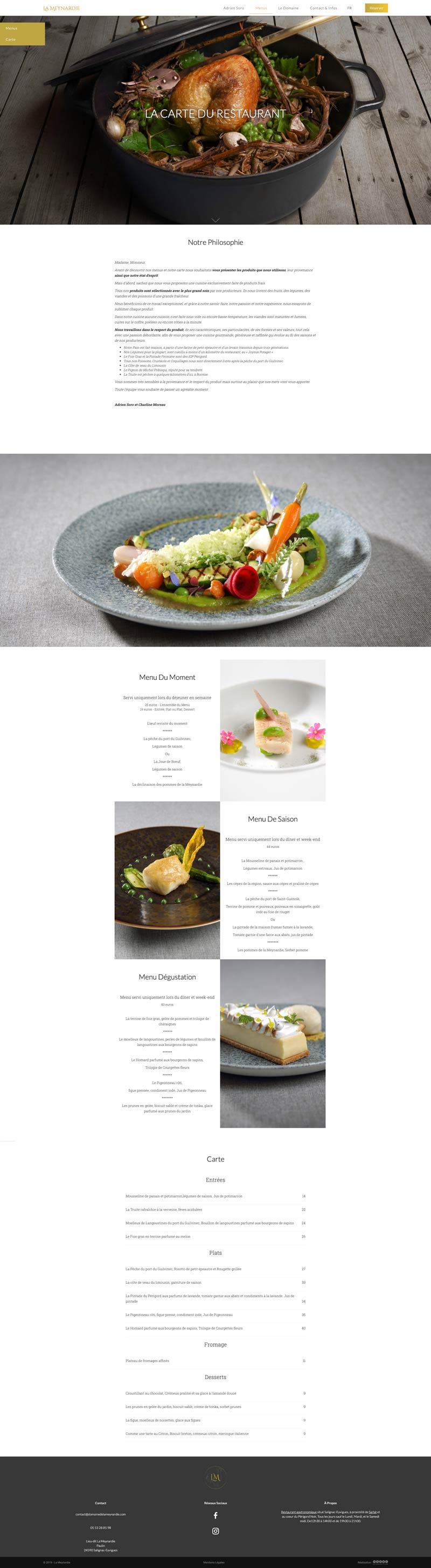 La Meynardie - Page des menus