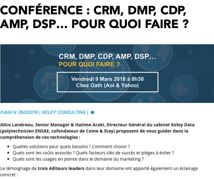 CRM, DMP, CDP, AMP, DSP… pour quoi faire ?