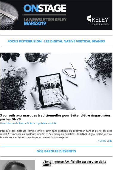 Capture de la newsletter Keley du mois de mars 2019