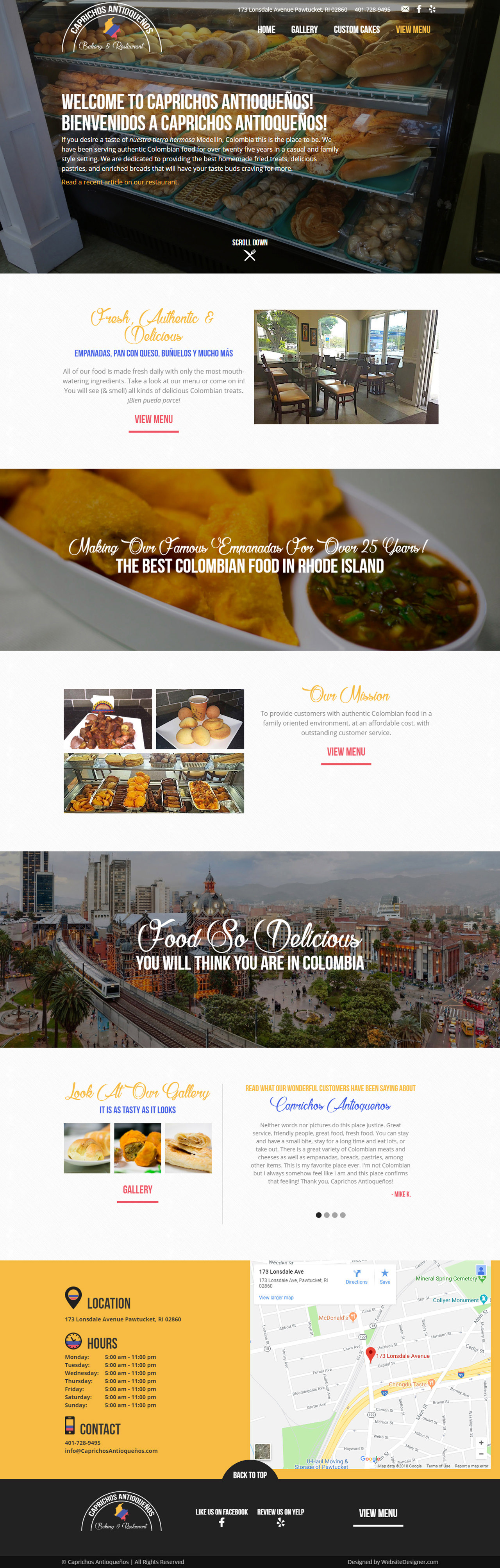 Caprichos Antioqueños Bakery & Restaurant Home Page