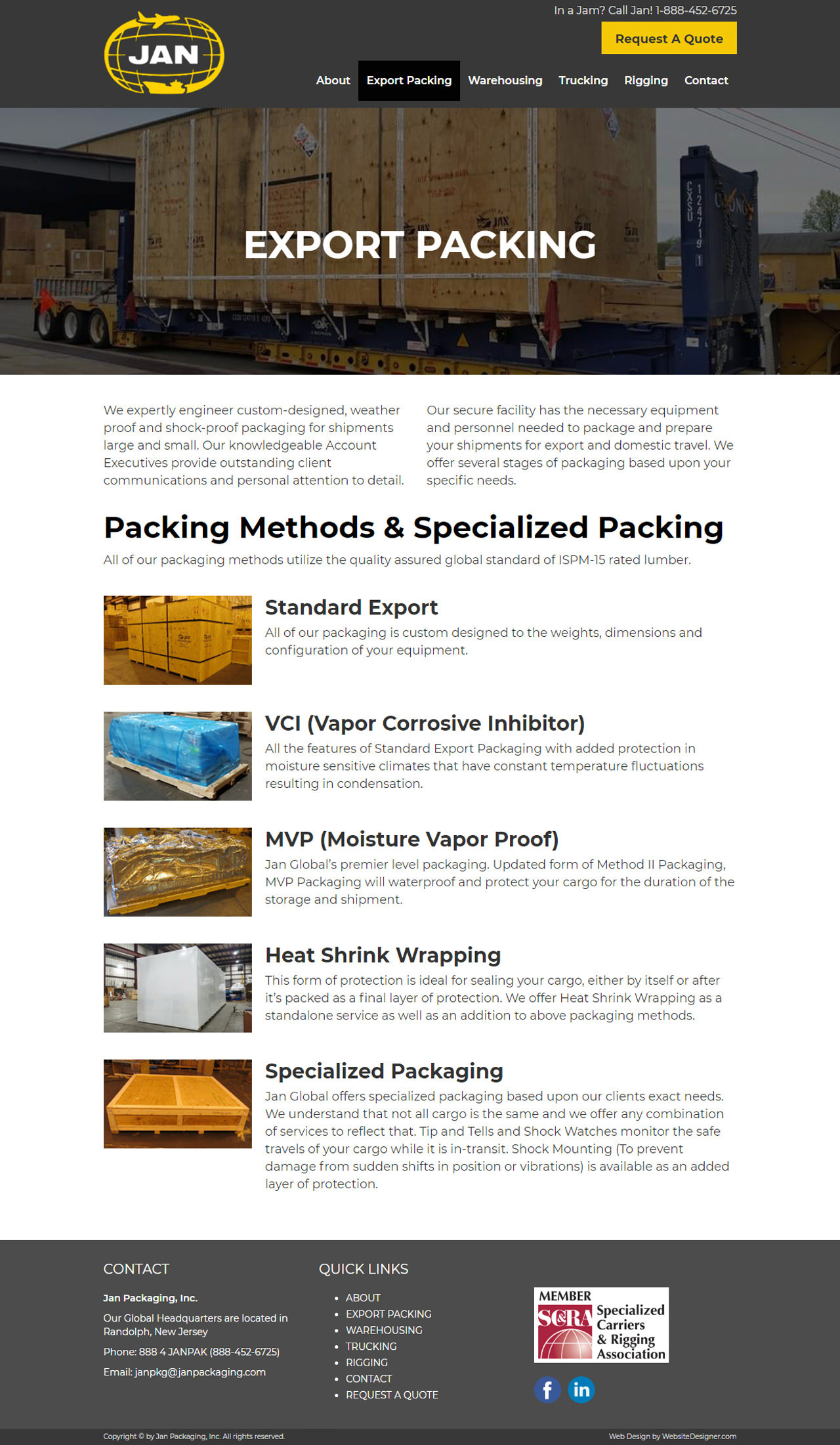 Jan Packaging, Inc. Inner Page