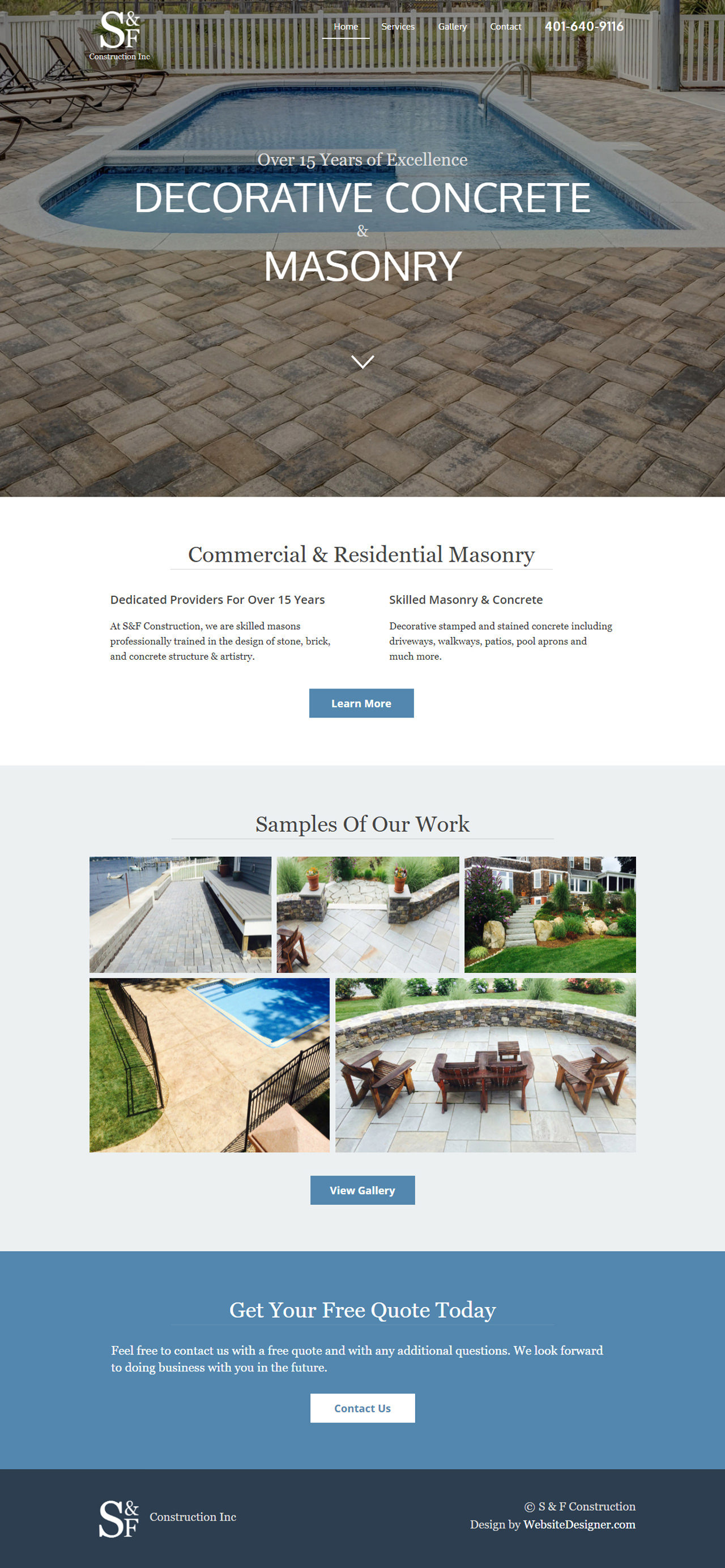 S&F Construction Inc. Home Page