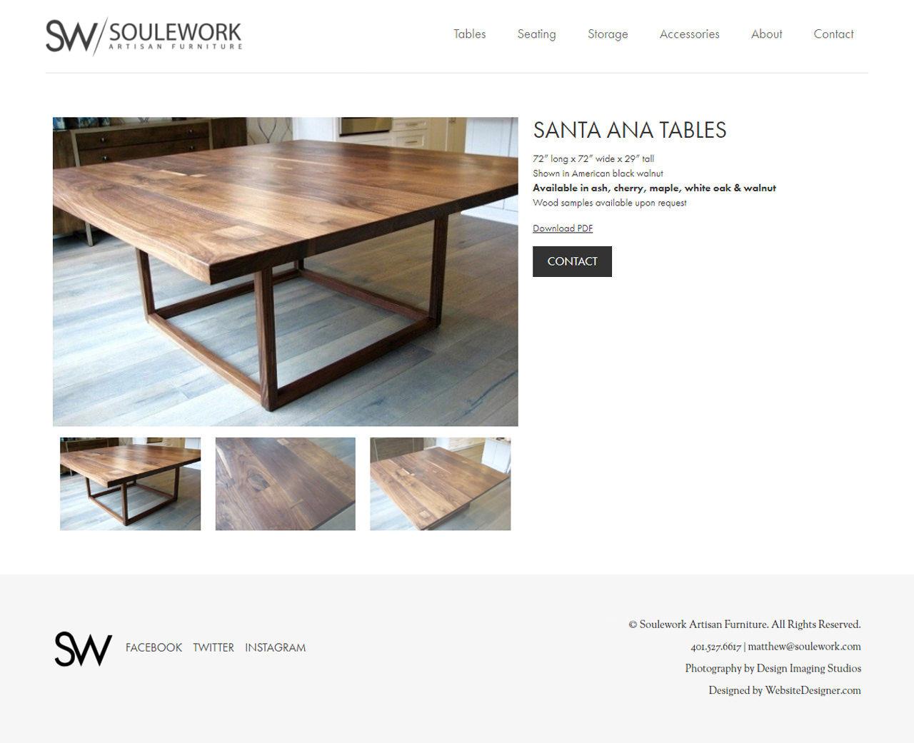 SouleWork Artisan Furniture Inner Page