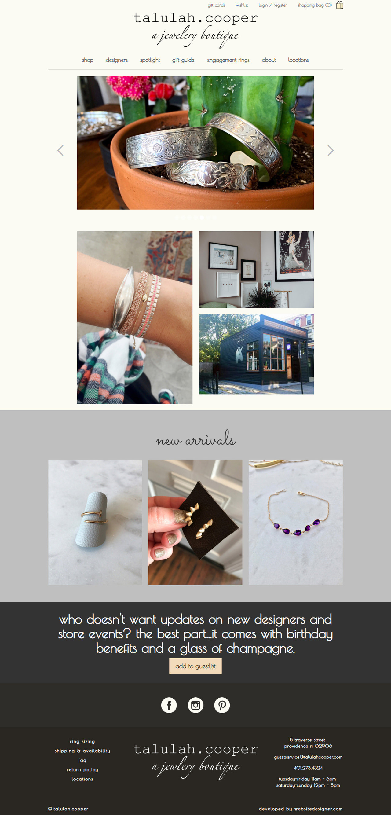 Talulah Cooper a Jewelry Boutique Home Page