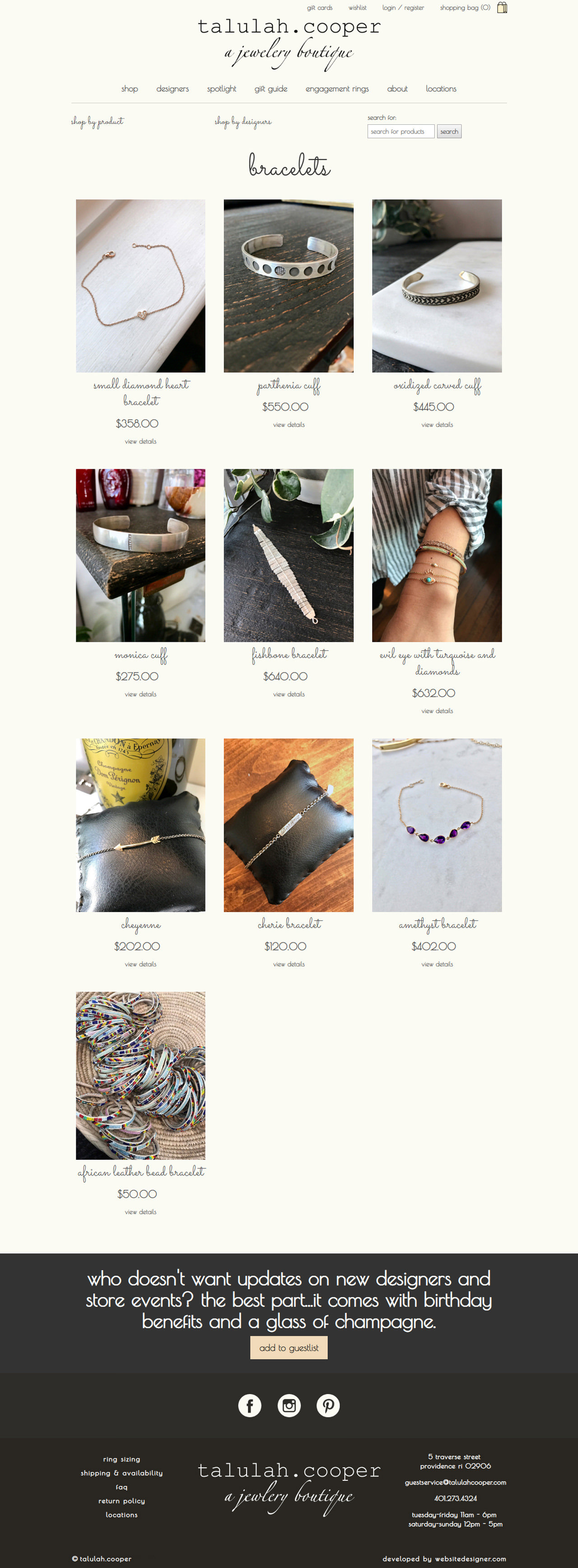 Talulah Cooper a Jewelry Boutique Inner Page