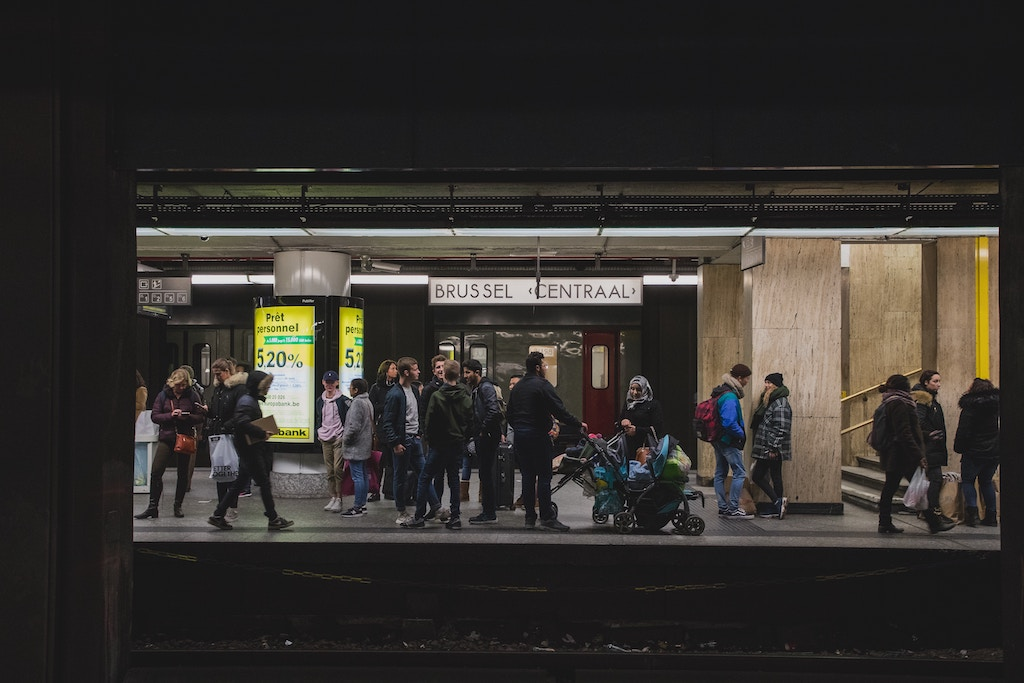 Commuters waiting at Brussels Central station
