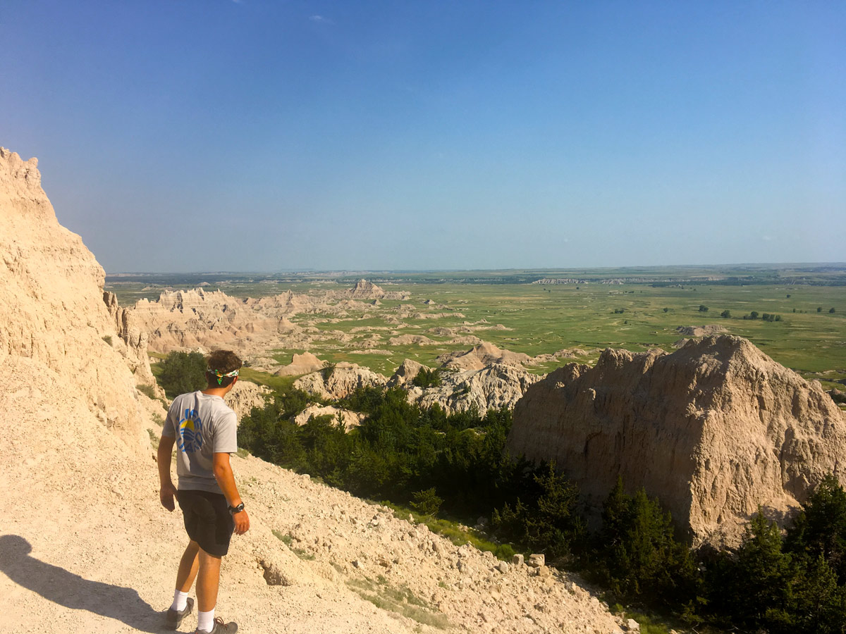 Man overlooking the White River Valley in Badlands National Park in South Dakota