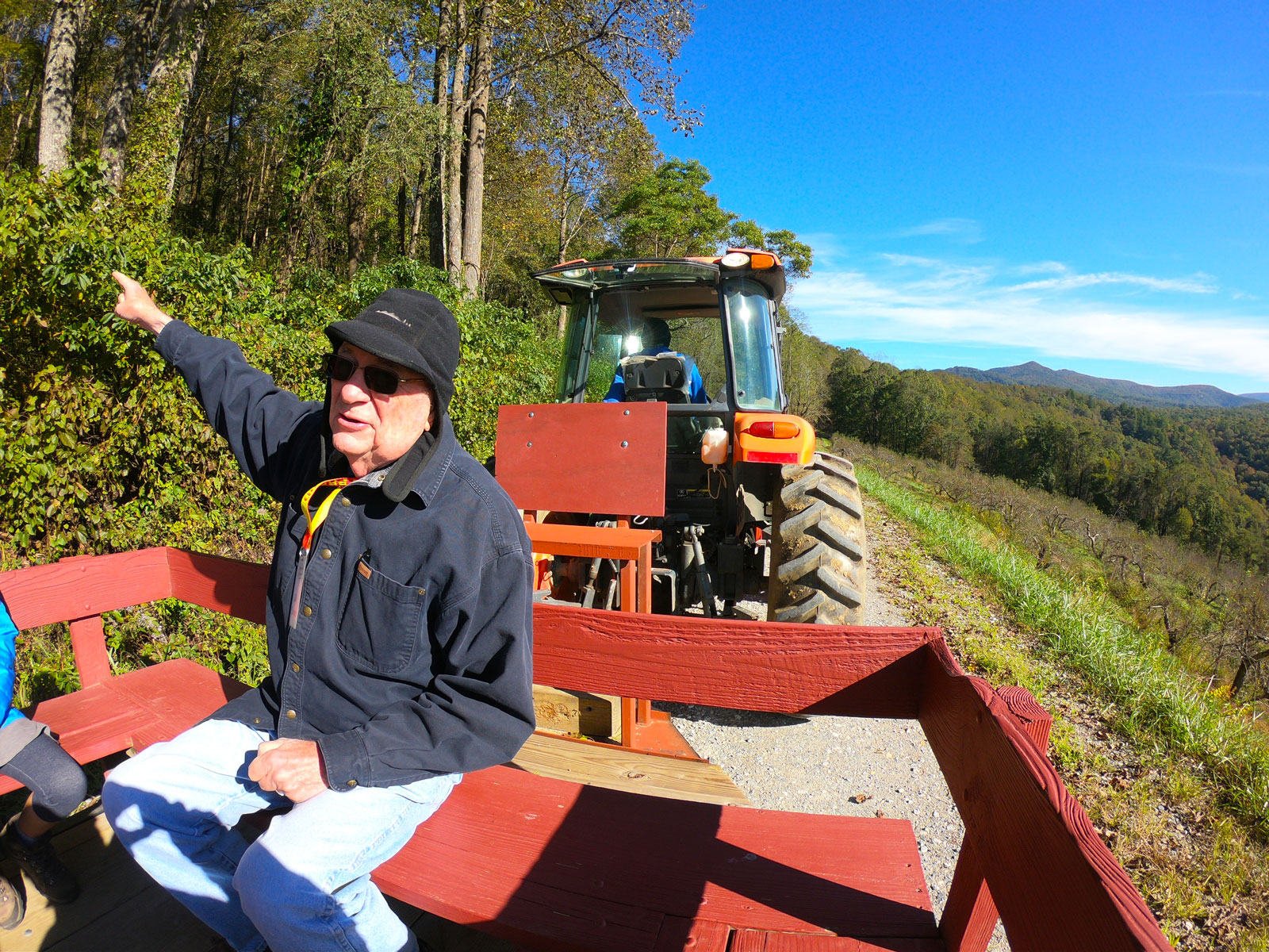 Bill Carson telling stories on the hayride at the Orchard at Alta Pass
