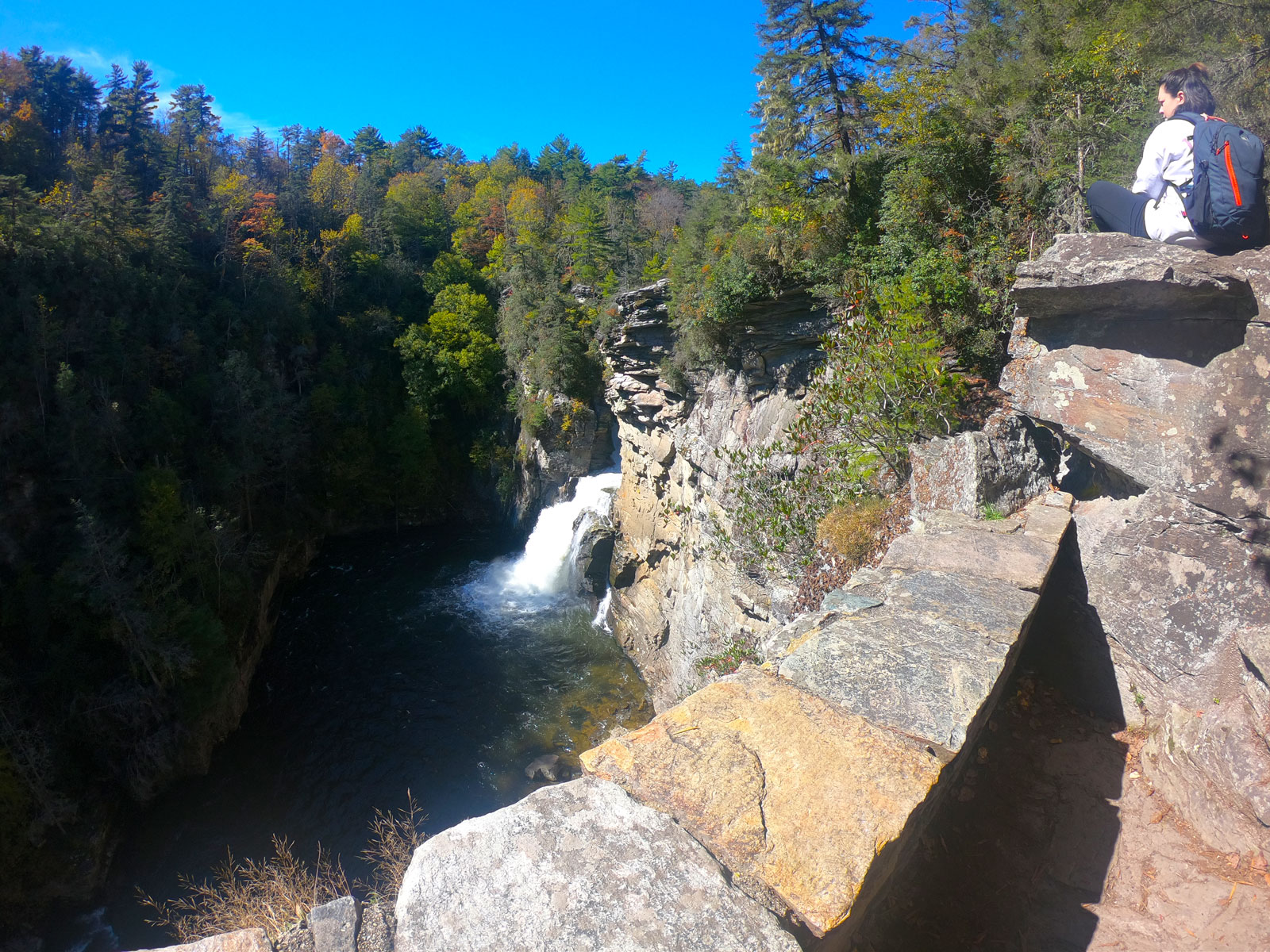 Girl overlooking Linville Falls in Blue Ridge Mountains