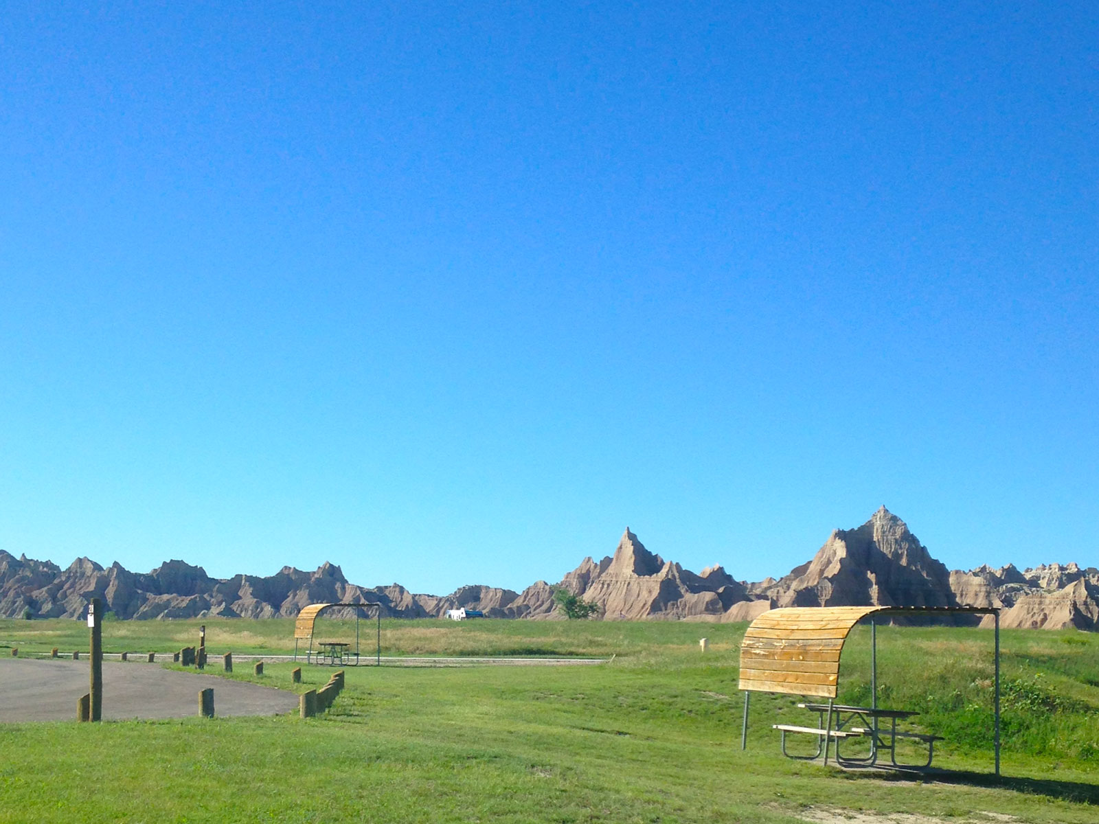 Campsites at Cedar Pass Campground in the Badlands National Park of South Dakota