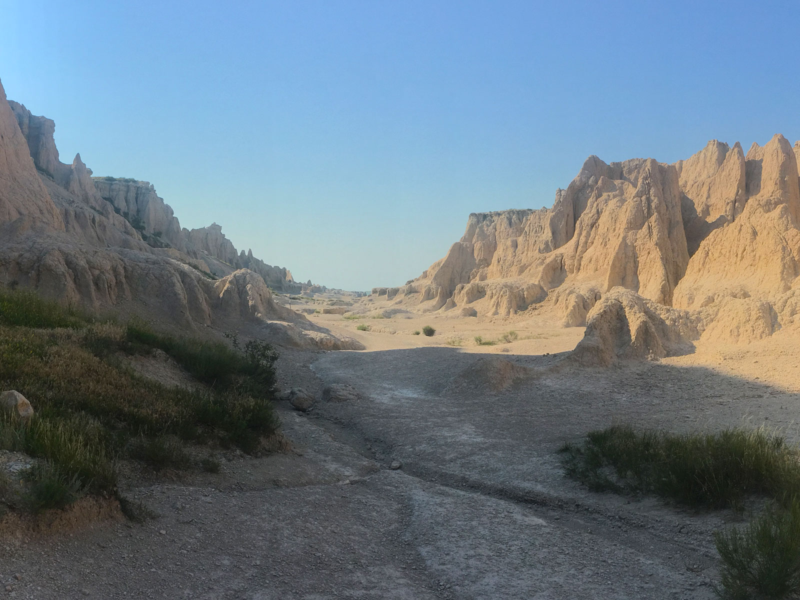 Wide view of the Notch Trail in the Badlands National Park of South Dakota