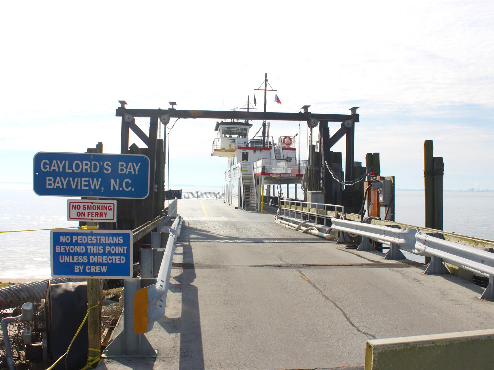 Vehicle loading entrance area at Bayview ferry station in North Carolina