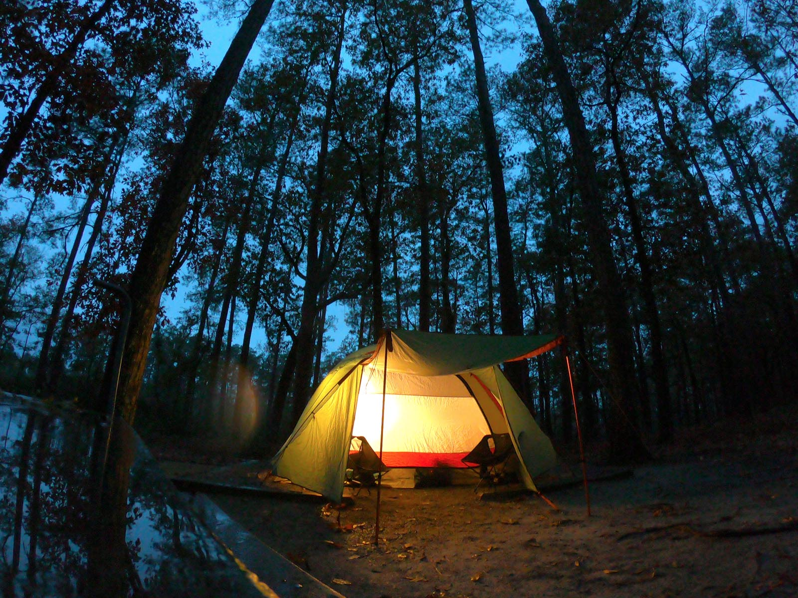 Tent lighting up the night at campsite at Goose Creek State Park, North Carolina