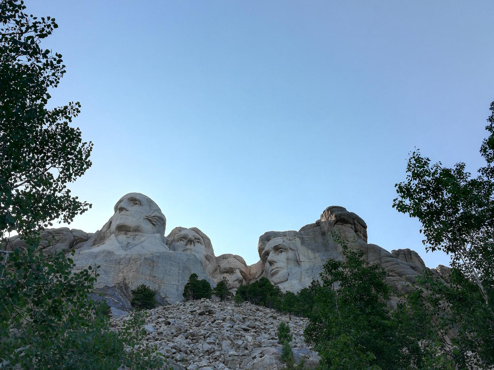 Mount Rushmore against the evening sky in South Dakota