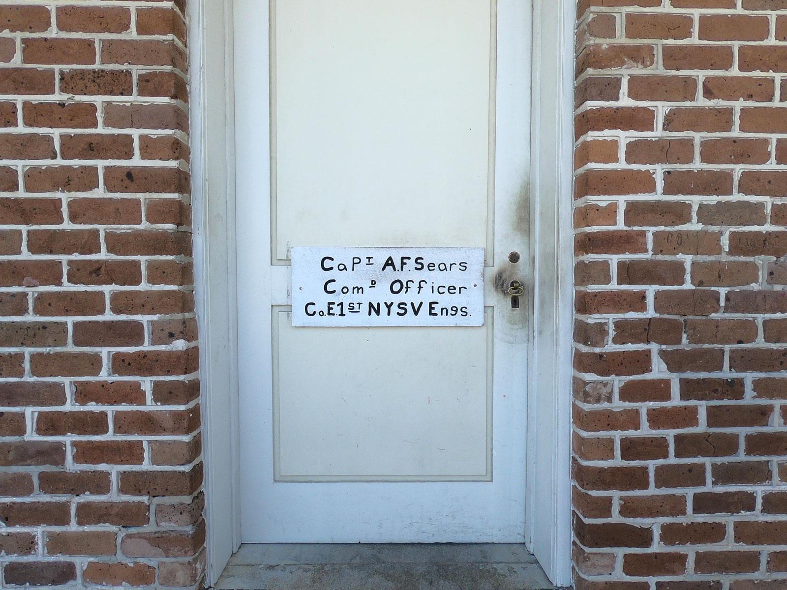 Beautiful typography on commander's barrack door in historic Fort Clinch, Florida
