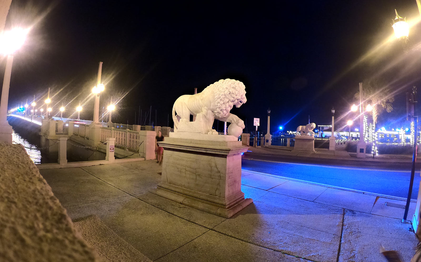 Bridge of Lions at night with outdoor lighting in Saint Augustine, Florida