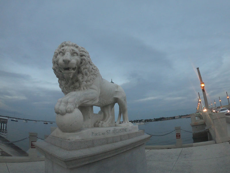 Lion statue at Bridge of Lions in St. Augustine, Florida while camping at Anastasia State Park, Florida