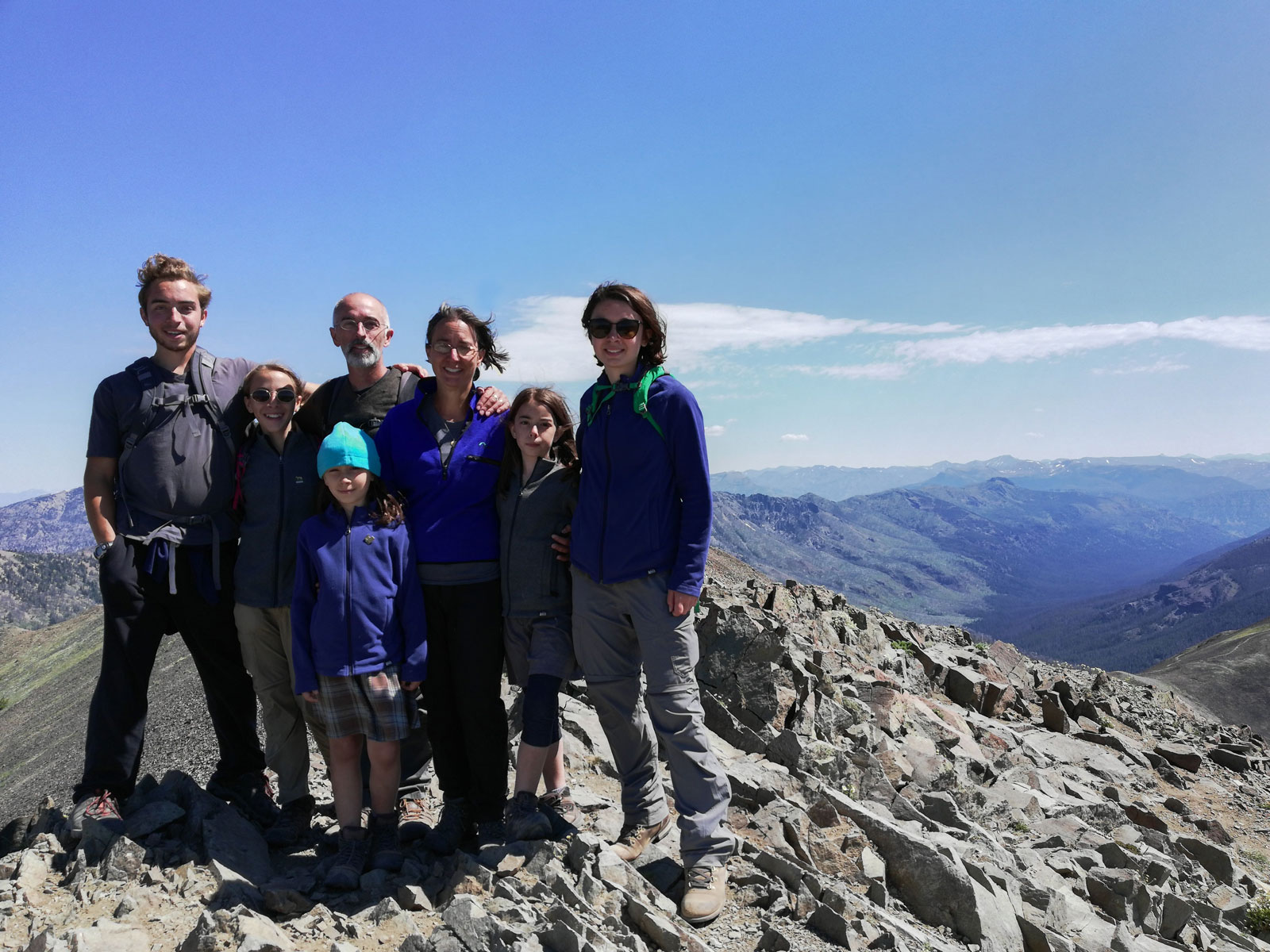 Family on the summit of Avalanche Peak in Yellowstone National Park, Wyoming
