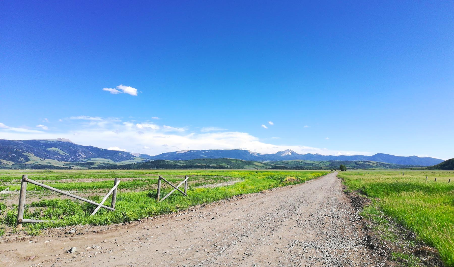 Wooden fence, gravel road, and green meadows at Grand Teton National Park, Wyoming