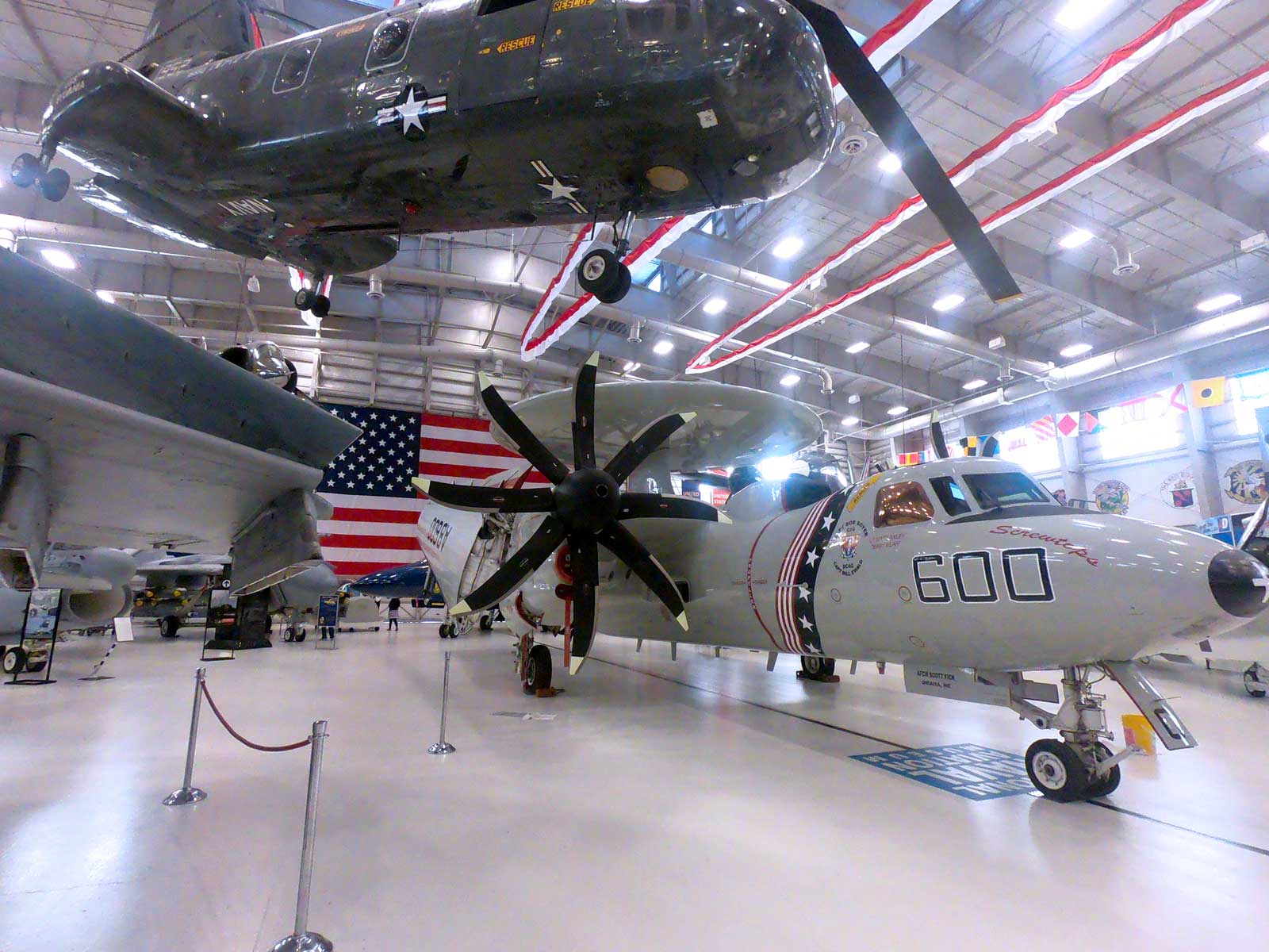 Helicopter and radar plane in the hangar display at National Naval Aviation Museum, Pensacola, Florida