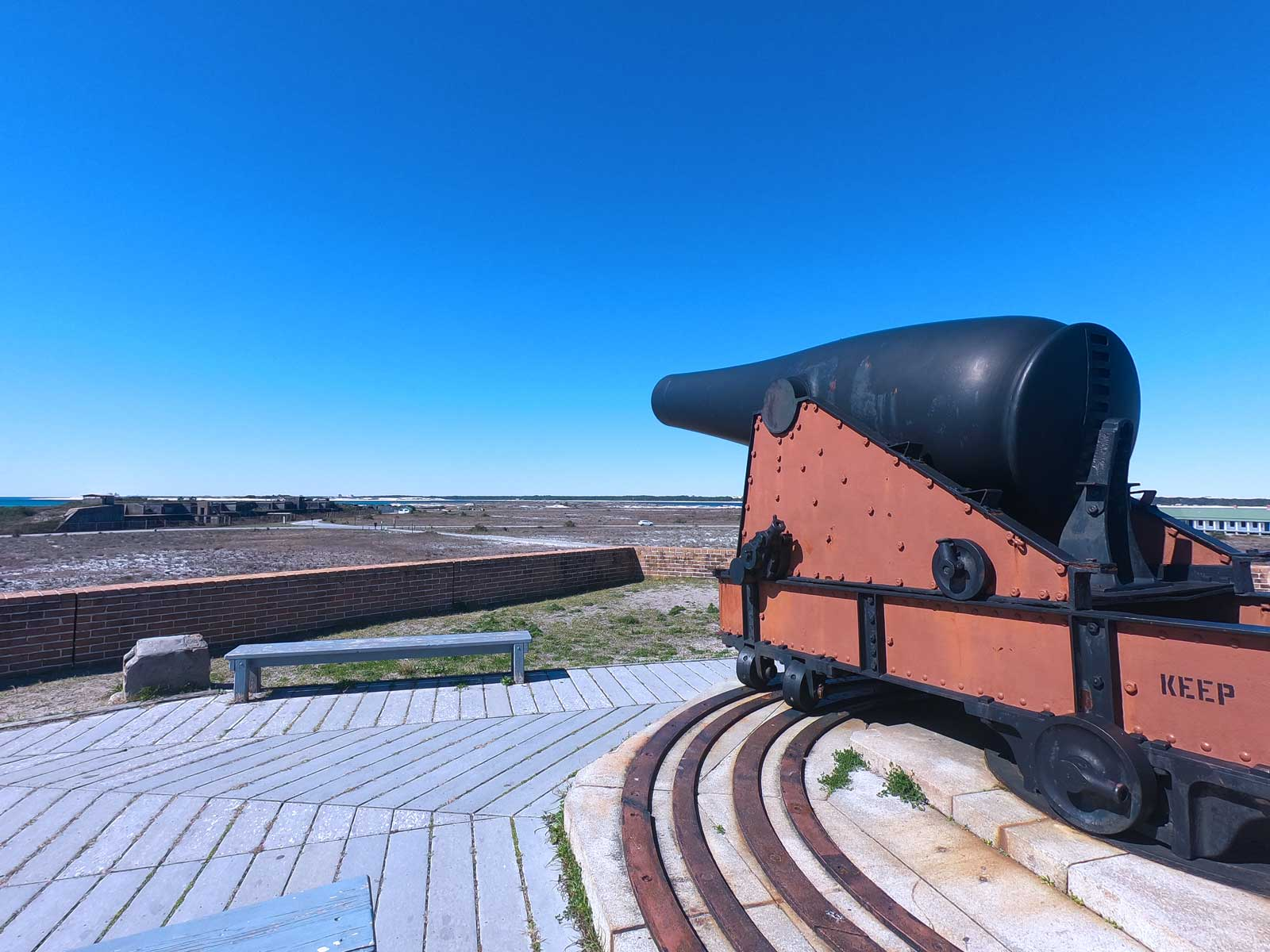 Cannon on top of Fort Pickens pointed toward Pensacola Bay, Florida