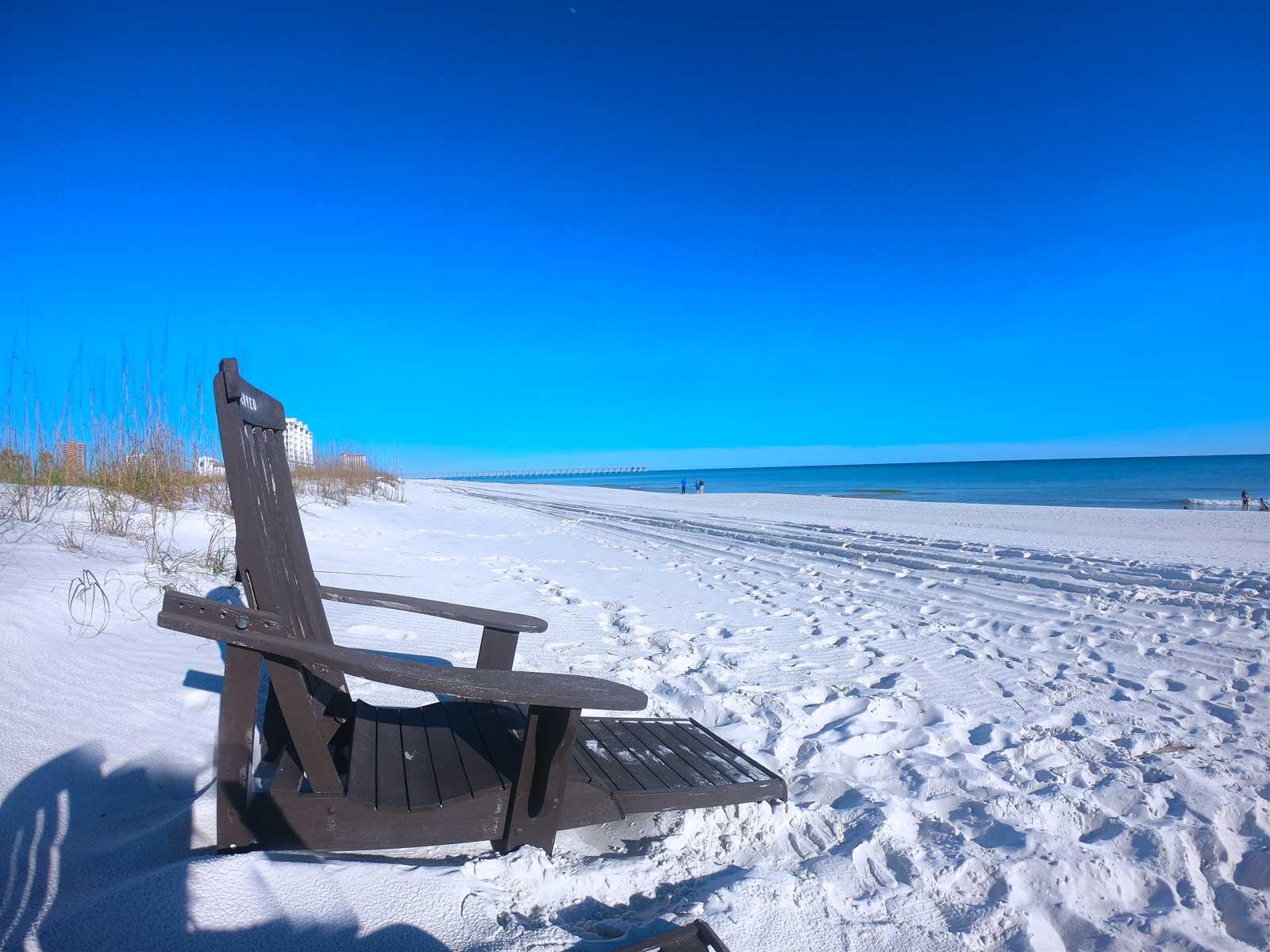 Brown adirondack chair on Pensacola Beach, Florida