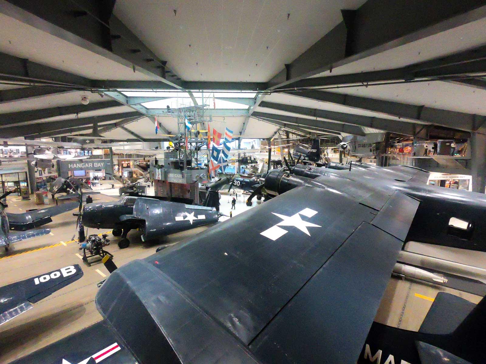 Hangar full of Navy aircraft on display at National Naval Aviation Museum, Pensacola, Florida