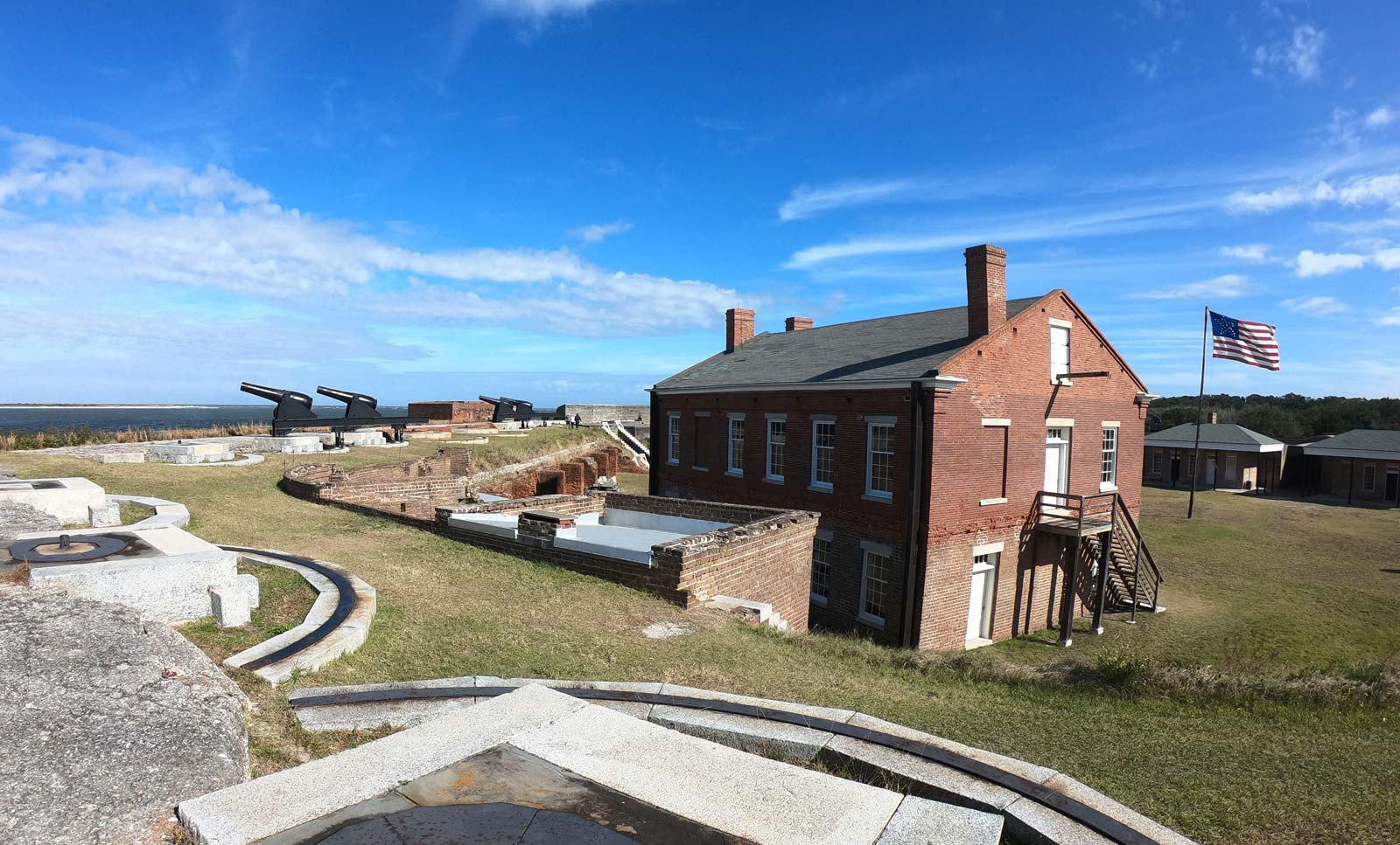 Fort Clinch State Park with cannons pointing over Cumberland Sound in Florida