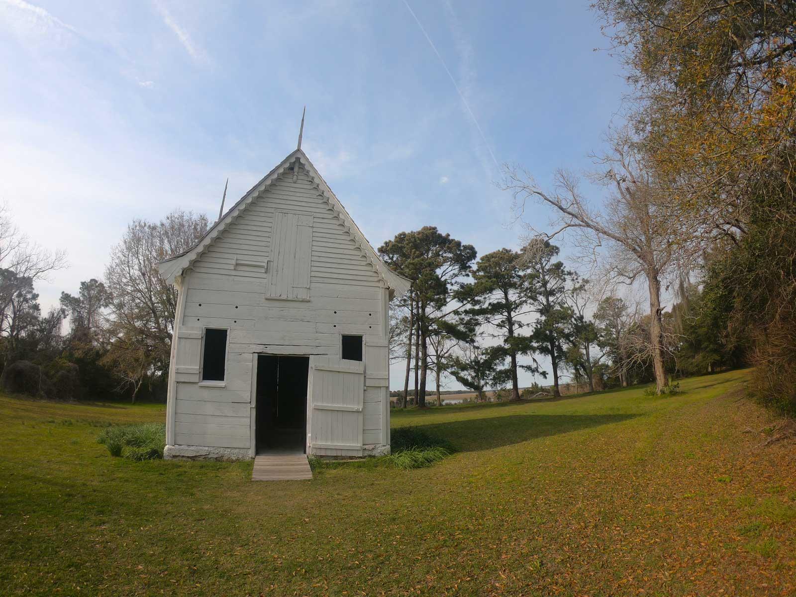 The white ice house, example of Gothic Revival Architecture, at Botany Bay Plantation, Edisto Island, SC
