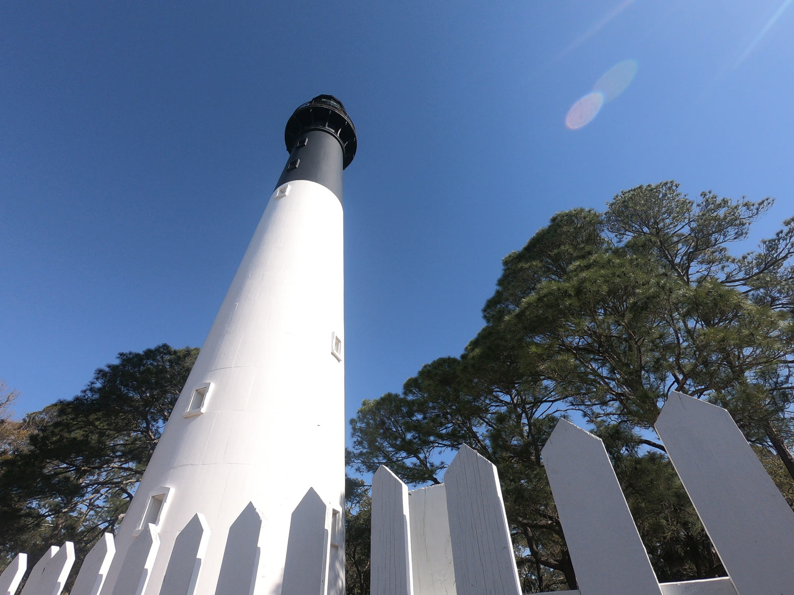 Upward view of the white and black lighthouse at Hunting Island State Park, South Carolina