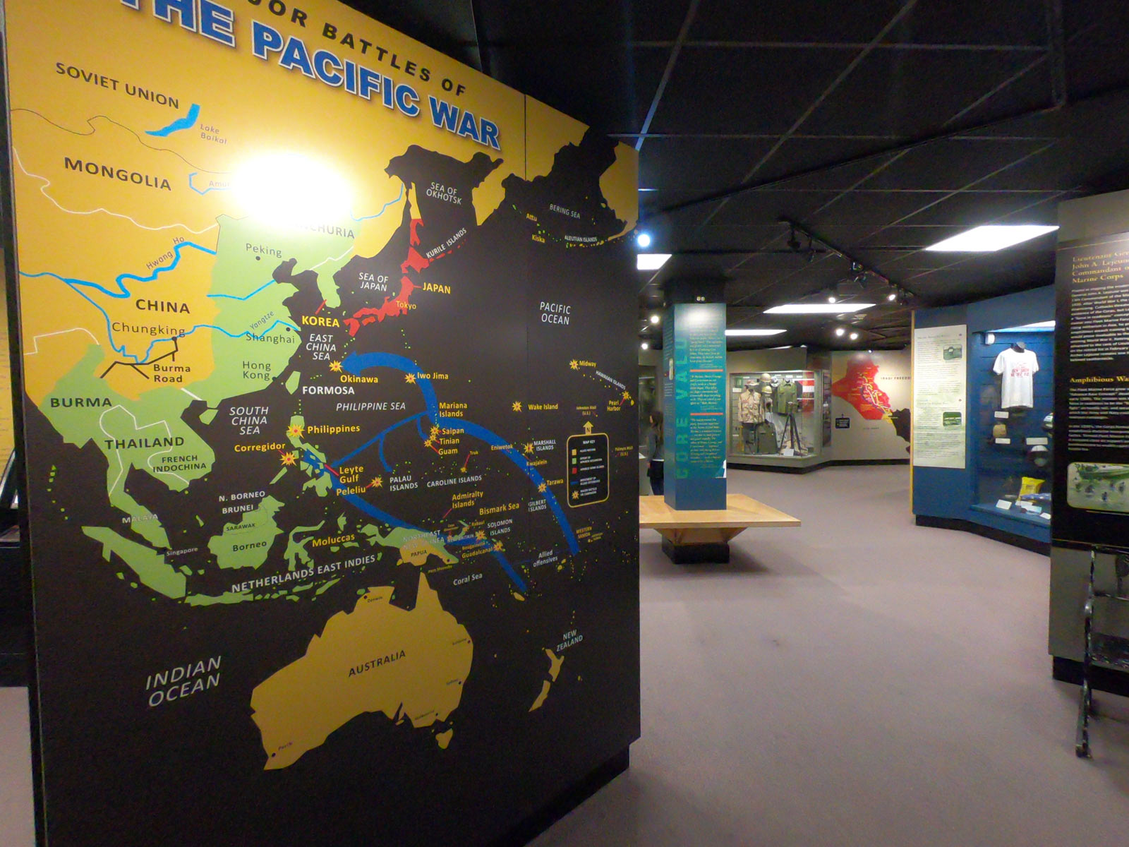 Exhibit on Battles of the Pacific at the Parris Island Museum, Beaufort, South Carolina