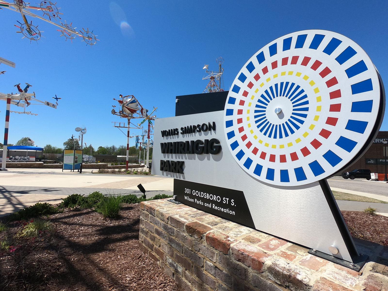 Vollis Simpson Whirligig Park multi-colored entrance sign, Wilson, North Carolina