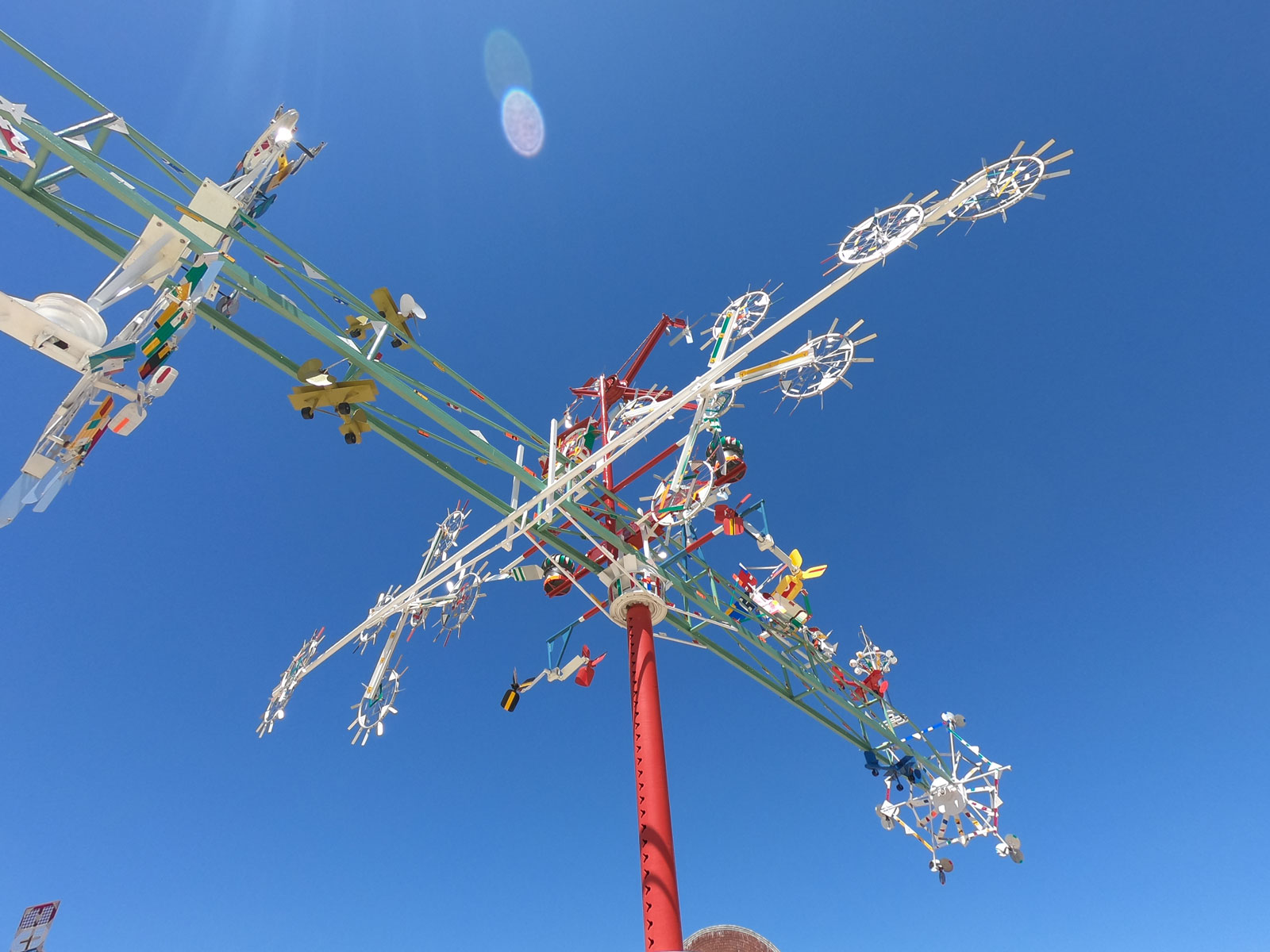 Whirligig with spinning fans in Vollis Simpson Whirligig Park, Wilson, North Carolina