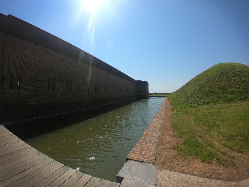 Moat between Fort Pulaski and a bunker at Fort Pulaski National Monument, Georgia