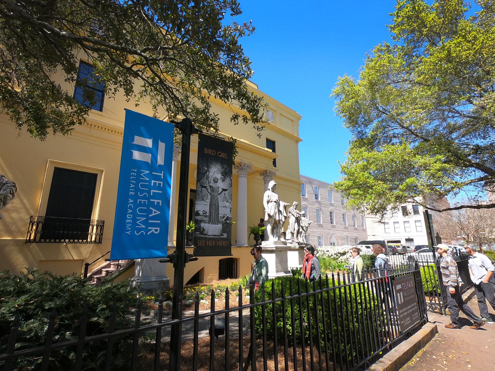 Exterior of Telfair Academy mansion in Savannah, Georgia