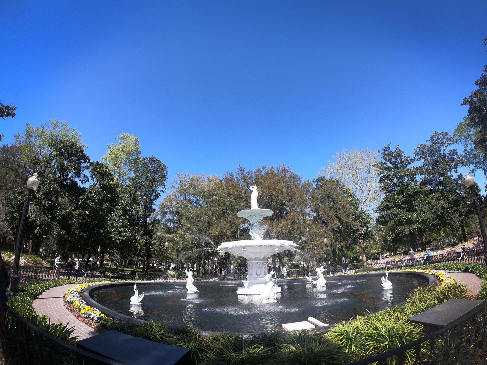 Iconic Forsyth Park fountain in Savannah, Georgia