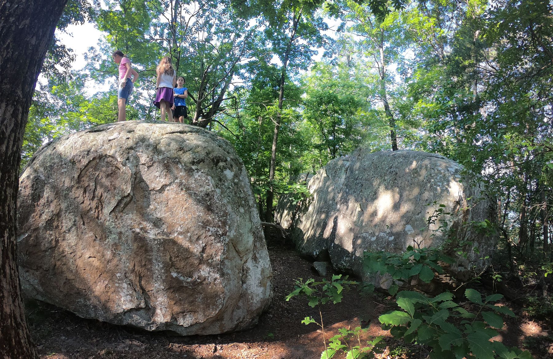 Three girls climbing boulders while hiking the West Rim Loop Trail at Cloudland Canyon State Park, Georgia