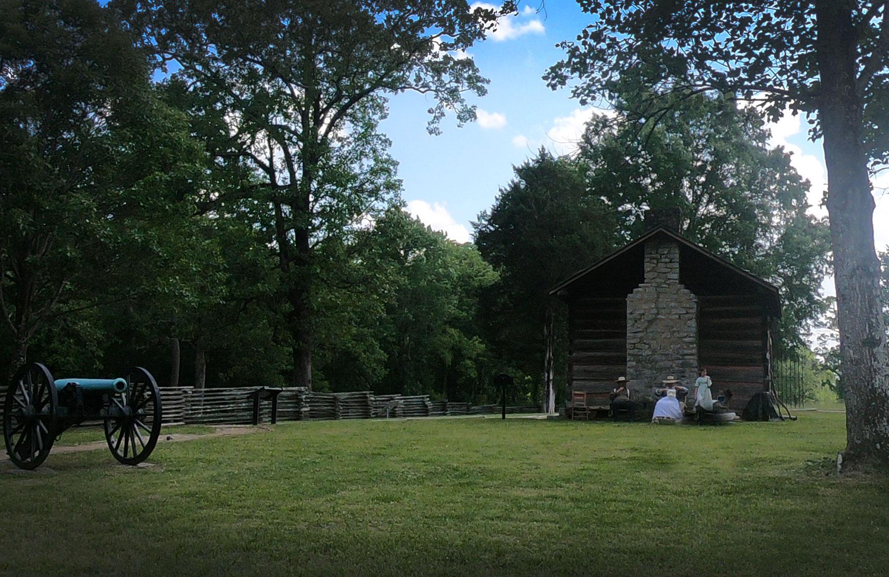 Living history program outside the Brotherton Cabin at Monument at Chickamauga Battlefield National Military Park, Georgia