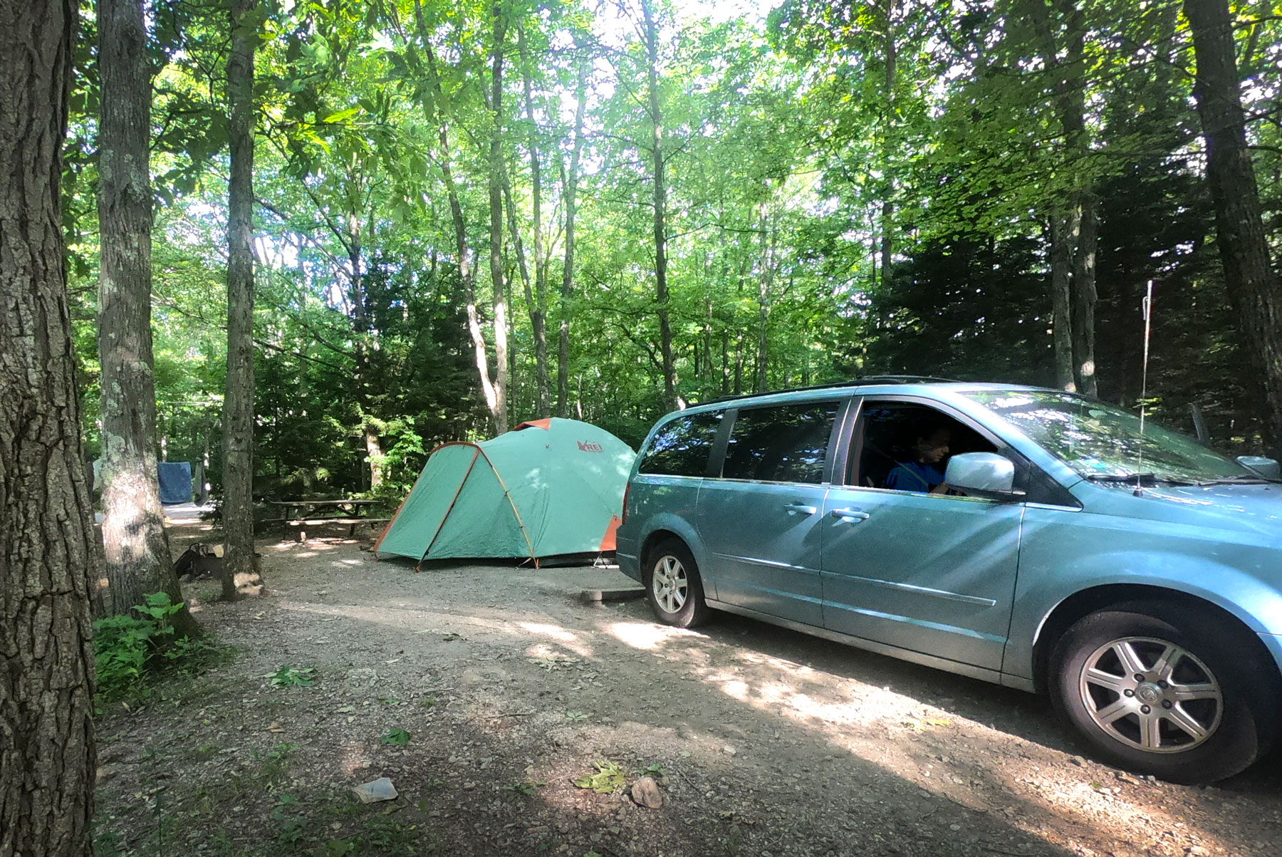 Tent and van at the Hickory Ridge Campground at Grayson Highlands State Park, Virginia