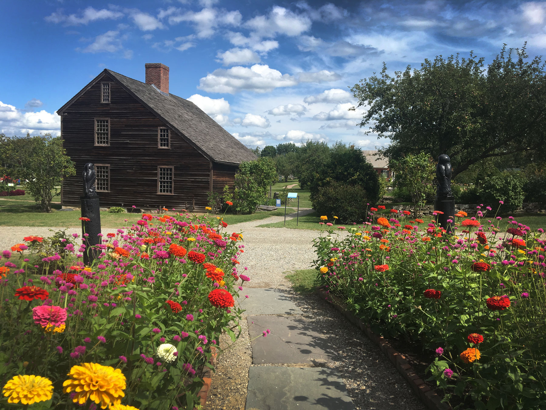 Zinnia flower garden at the Shelburne Museum in Vermont.