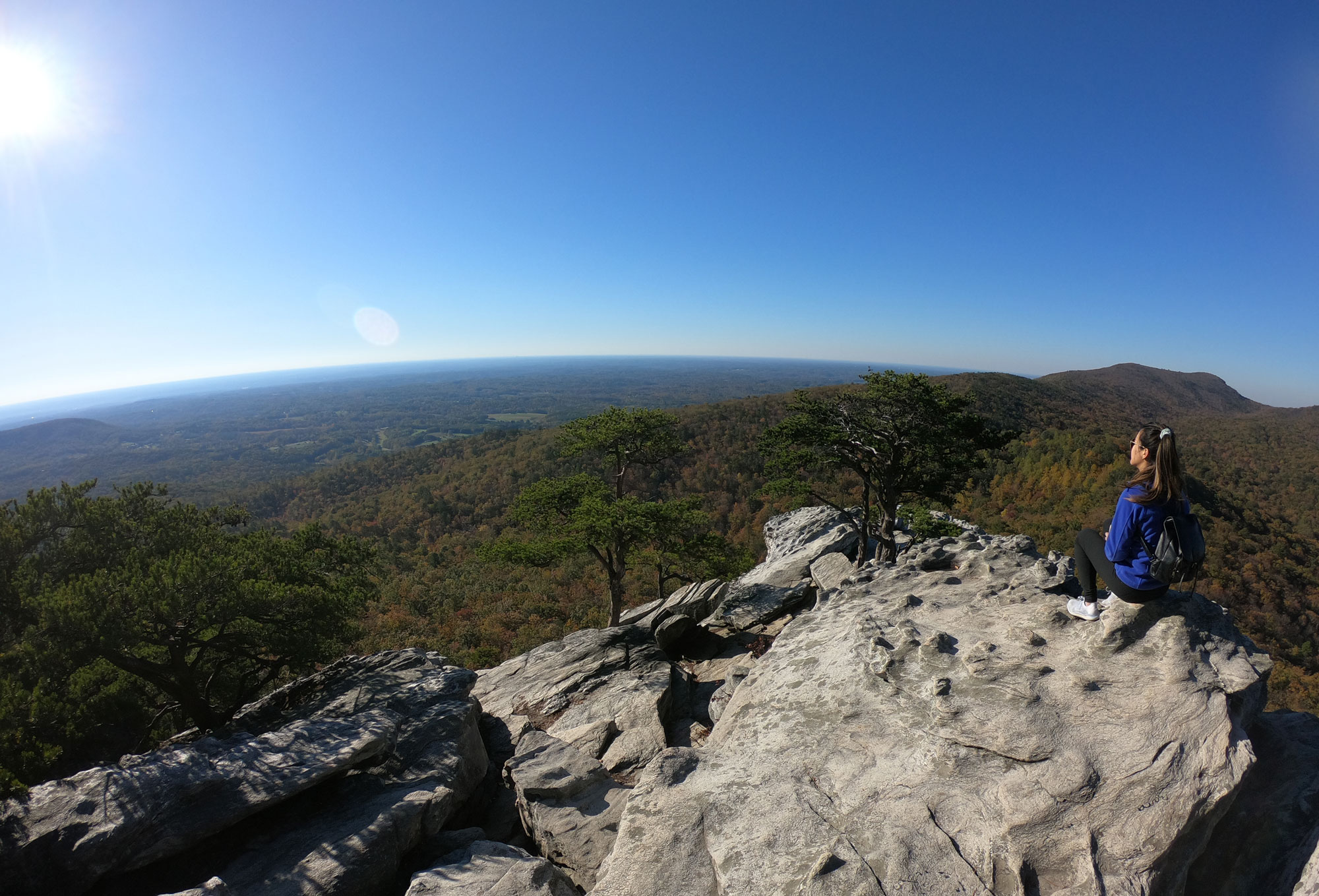 The view hiking from atop Hanging Rock in North Carolina