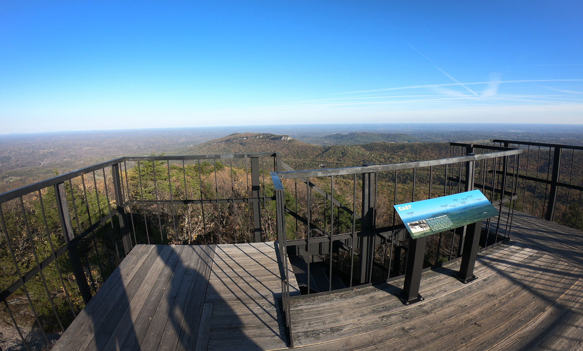 Hiking on the Fire Tower Trail from the Hanging Rock State Park campground, North Carolina